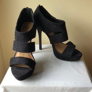 Shoes - Black Suede Open Toe Heels